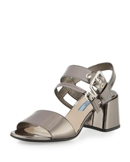 Prada Metallic 55mm Chunky-Heel Sandal, Anthracite