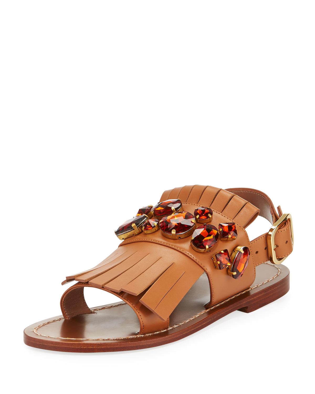9c99c74a8 Marni Jeweled Fringe Flat Sandal