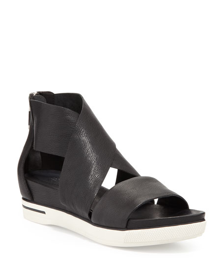 Eileen Fisher Sport Wide-Strap Leather Sandal, Black