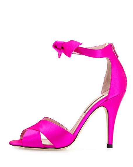 Buckingham Satin Ankle-Tie Sandal