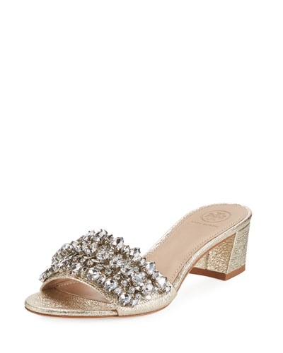 Beverly Metallic Embellished Slide Sandal