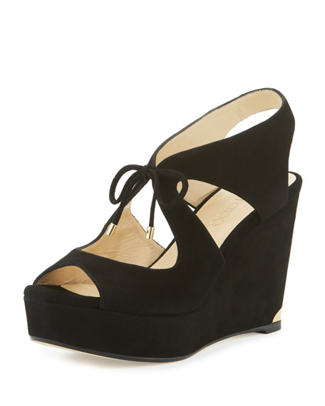 Jimmy Choo Nayeem Suede Tie Wedge Sandal, Black