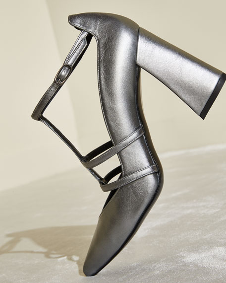 Popularity Metallic Napa T-Strap Pump