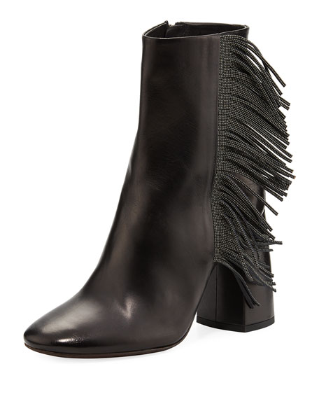 Leather Bootie with Monili Fringe