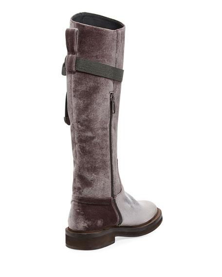 Velvet Riding Boot w/ Monili Strap