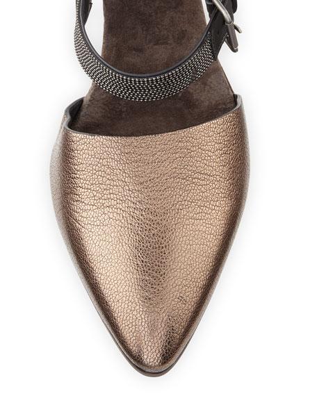 Metallic Leather Monili-Strap Pump