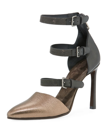 Metallic Leather Monili-Strap Pumps