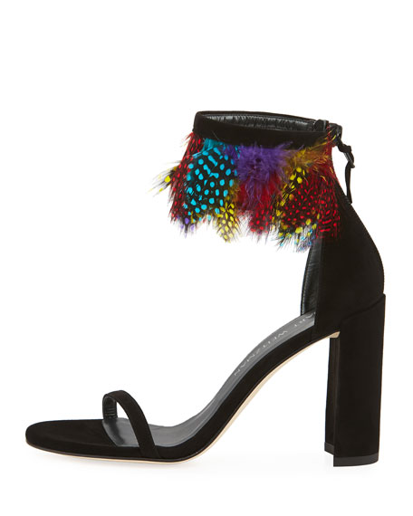 3228ce3c9ed Stuart Weitzman Plumage Multicolor Feather Sandal  498