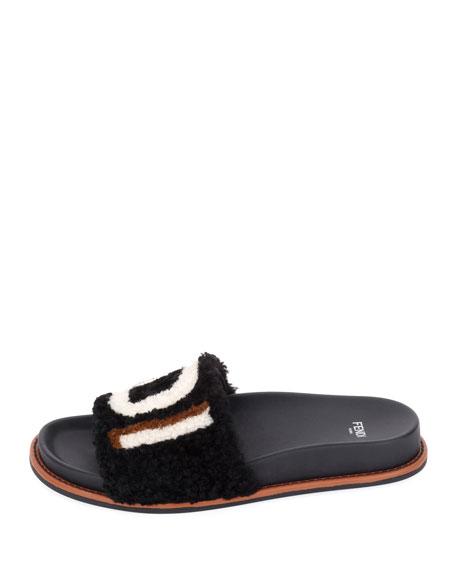 Shearling Logo Slide Sandal, Black