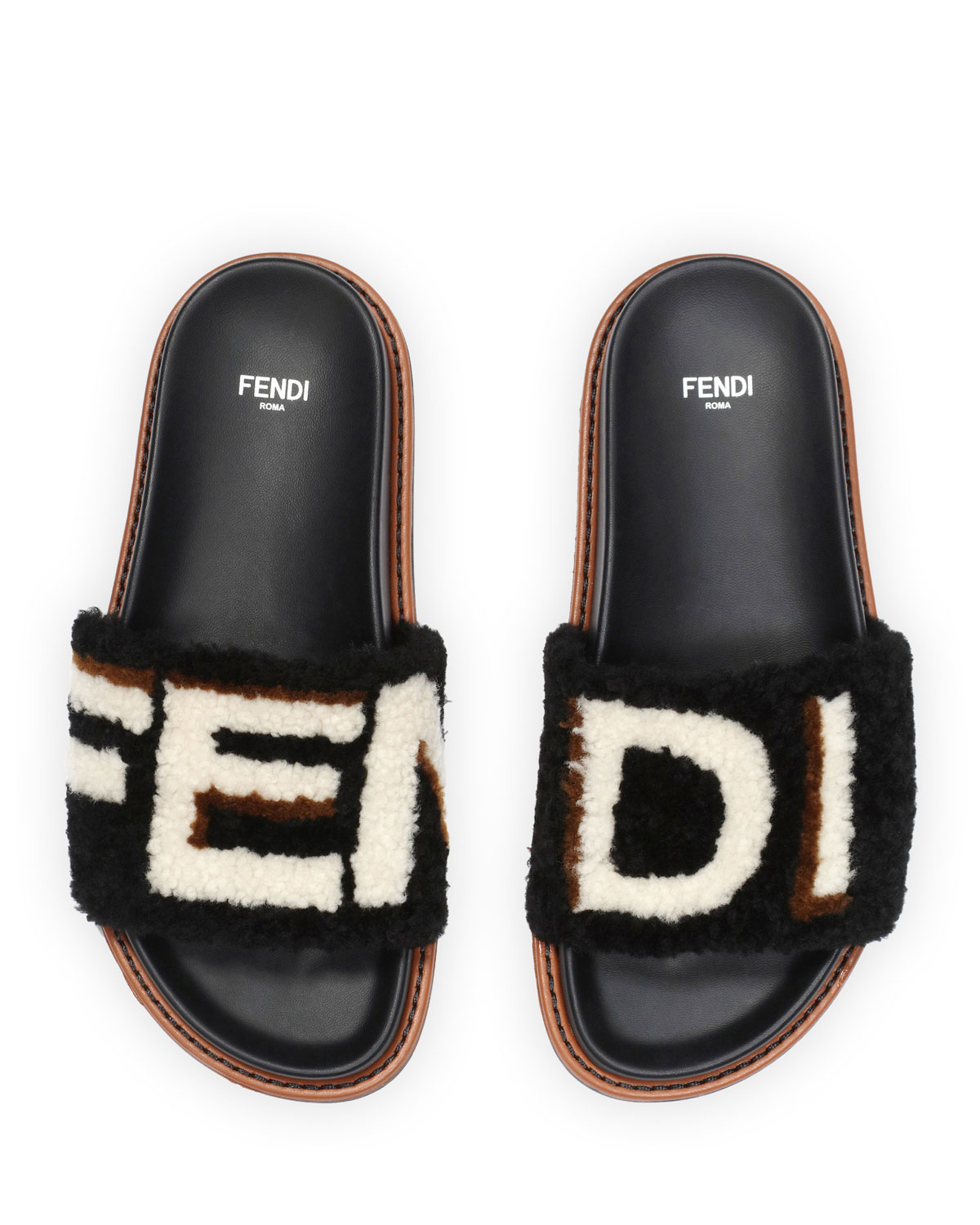 8112be40e Fendi Shearling Logo Slide Sandal, Black | Neiman Marcus