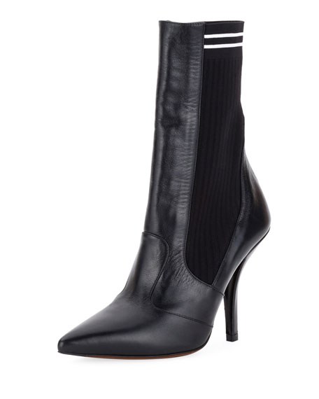 Fendi Polished 105mm Sock Bootie, Black
