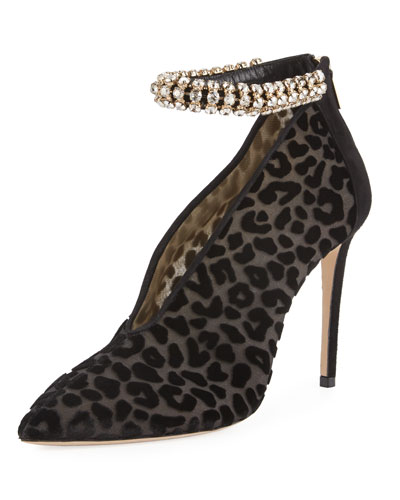 Lux Jeweled Leopard-Print Velvet Pump