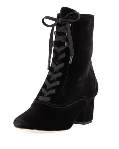 Yulia Velvet Lace-Up 50mm Bootie