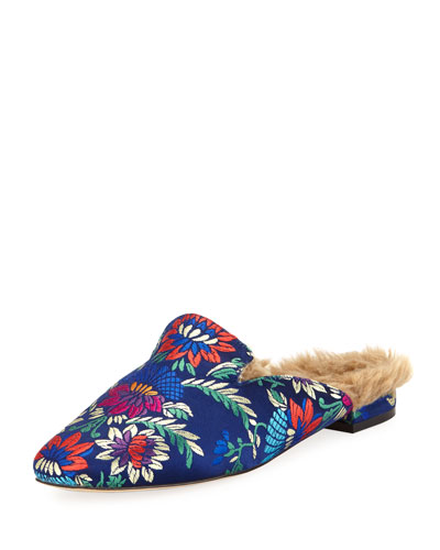 Jean Brocade Faux-Fur-Lined Mule