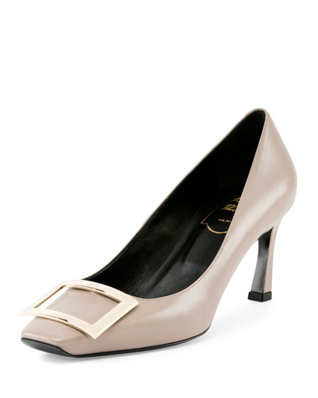 Roger Vivier Trompette Leather 70mm Pump, Stone
