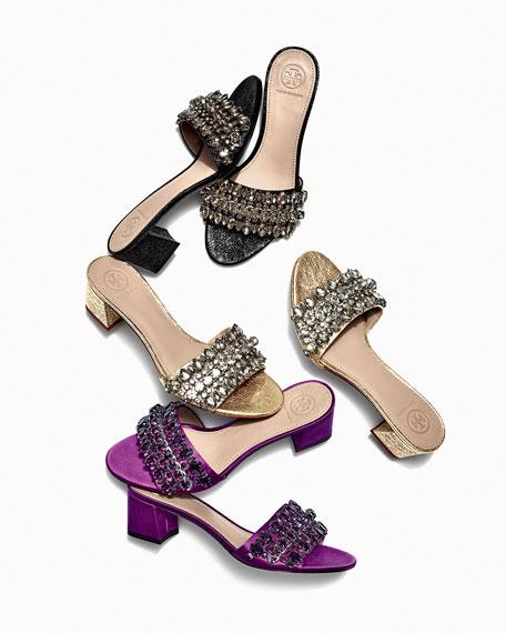 Beverly Embellished Satin Slide Sandal