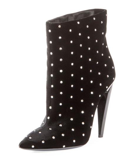 Saint Laurent Studded Velvet Ankle Bootie