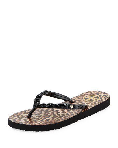 Tory Burch Jeweled Thin Platform Flip Flop, Leopard