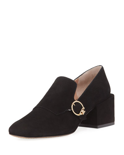 Tess Suede Block-Heel Loafer