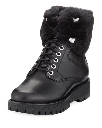 Teddy Shearling Combat Boot