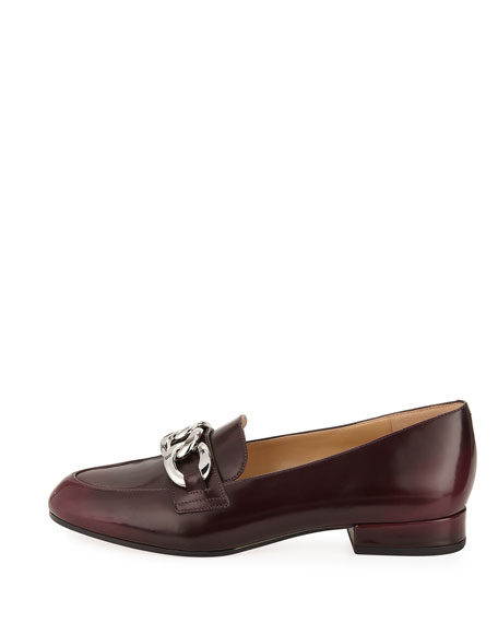 Vanessa Shiny Leather Chain-Strap Loafer