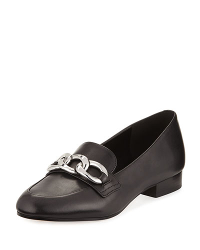 Vanessa Leather Chain-Strap Loafer