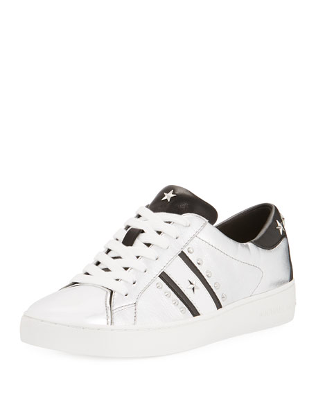 MICHAEL Michael Kors Frankie Studded Metallic Low-Top Sneaker