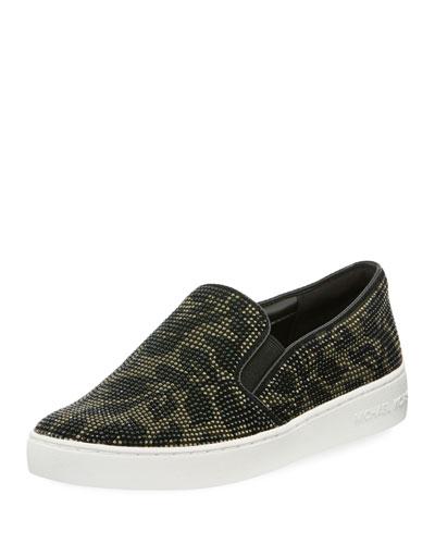 Keaton Floral-Crystal Suede Slip-On Sneaker