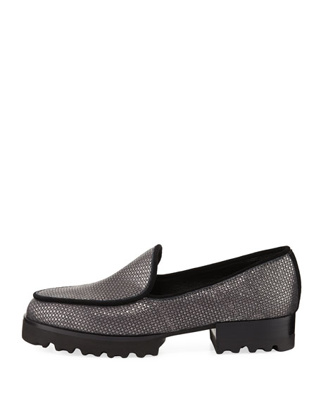 Elen 2 Metallic Leather Rubber-Sole Loafer
