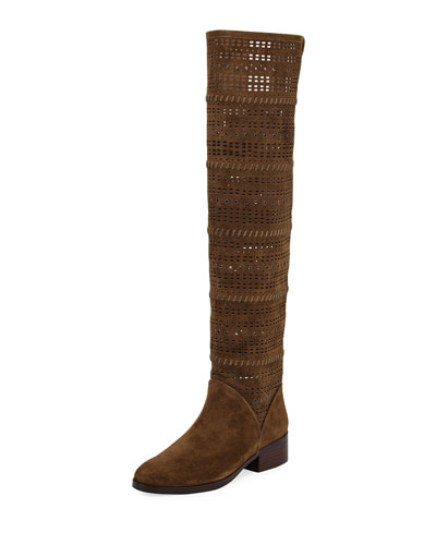 Devya Over-The-Knee Perforated Suede Boot