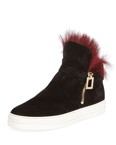 Sneaky Viv High-Top Sneaker with Fur