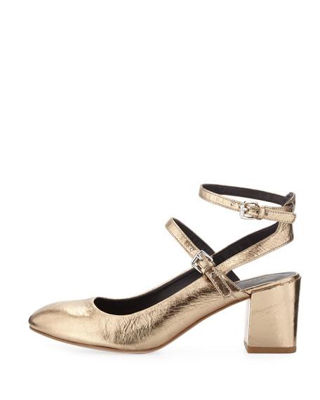 Brooke Metallic Leather Chunky Heel Pump