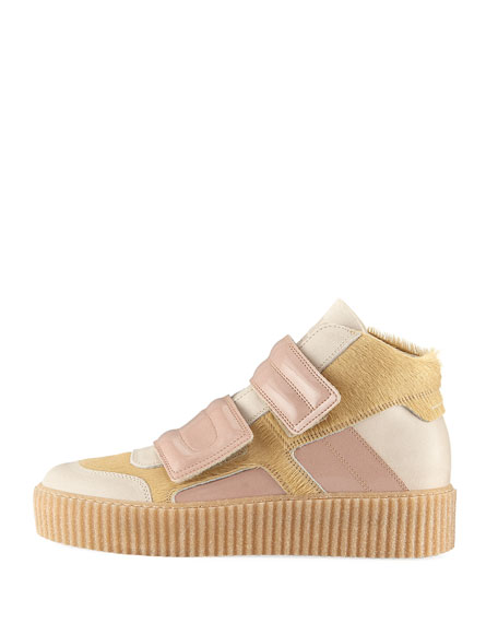 Calf Hair & Patent Leather High-Top Sneaker