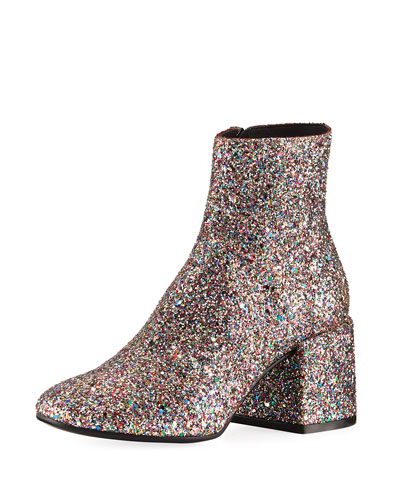 Glittered Zip-Up Ankle Bootie