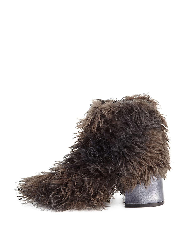 MM6 Maison Martin Margiela Faux-Fur Block-Heel Ankle Bootie I11JDkim