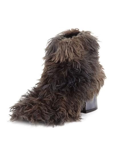 Faux-Fur Block-Heel Ankle Bootie