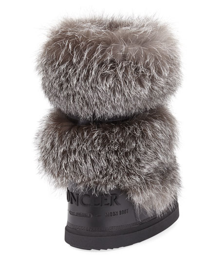 Venus Fur-Trim Moon Boot, Charcoal