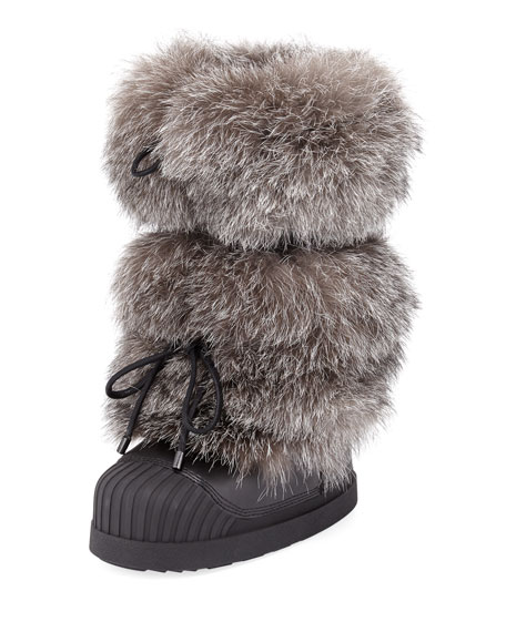 Moncler Venus Fur-Trim Moon Boot, Charcoal