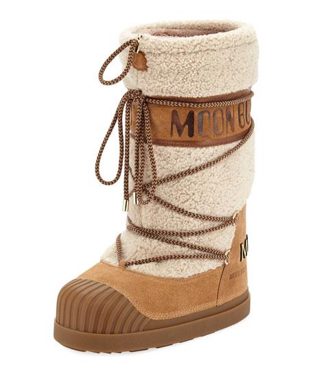 Moncler Venus Shearling Fur Moon Boot Neiman Marcus
