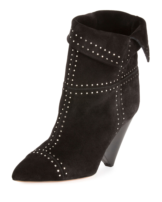 d2a1357bcb2f Isabel Marant Lizynn Cone-Heel Stud Booties