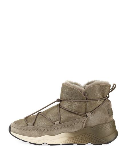 Mitsouko Shearling Metallic Sneakers, Bronze