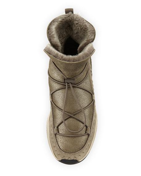 Mitsouko Shearling Metallic Sneaker, Bronze