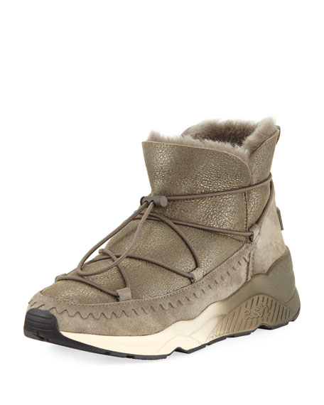 Ash Mitsouko Shearling Metallic Sneakers, Bronze