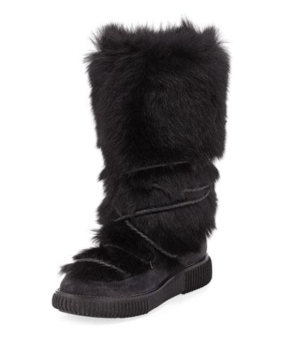 Katia Tall Fur Platform Boot, Black