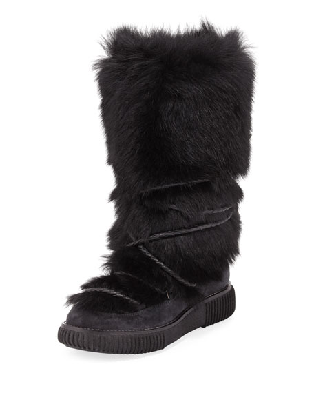 Moncler Katia Tall Fur Platform Boot, Black