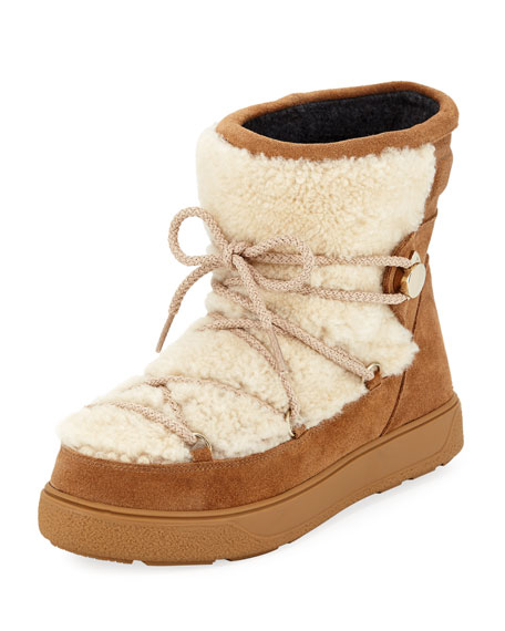 Moncler New Fanny Lace-Up Shearling Fur Snow Boot