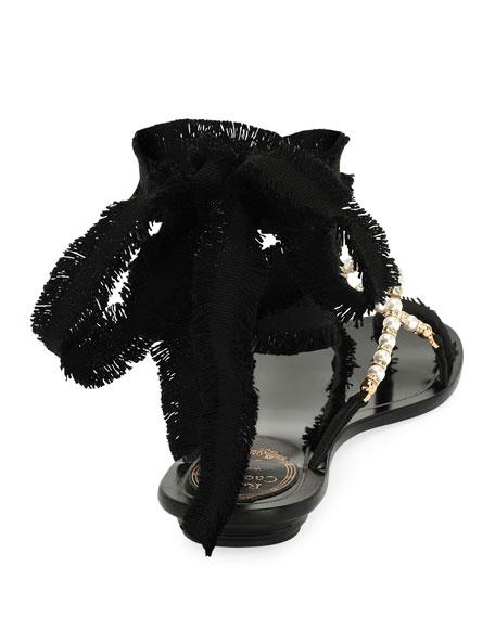 Pearlescent Ribbon Flat Sandal
