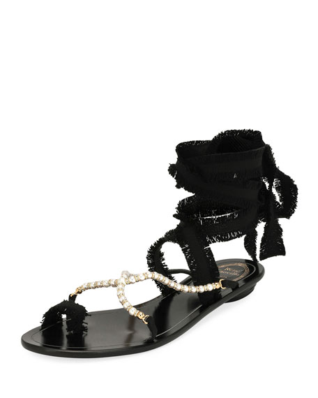 RENÉ CAOVILLA Pearlescent Ribbon Flat Sandals, Black