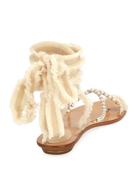 Pearlescent Ribbon Flat Sandal, Beige