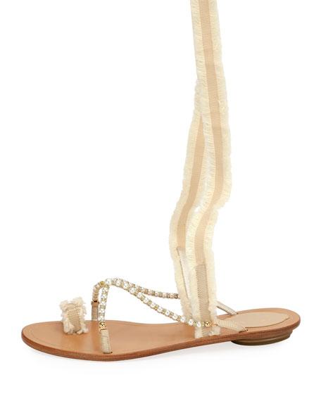 Pearlescent Ribbon Flat Sandals, Beige